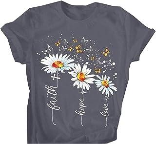 neveraway Women's Crew Neck Modal Short Sleeve Floral Printed Blouse Tees Shirt