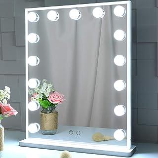 BEAUTME Miroir de Maquillage de Maquillage Hollywood avec lumières, Miroir de Table Debout illuminé, Miroir de Table de be...