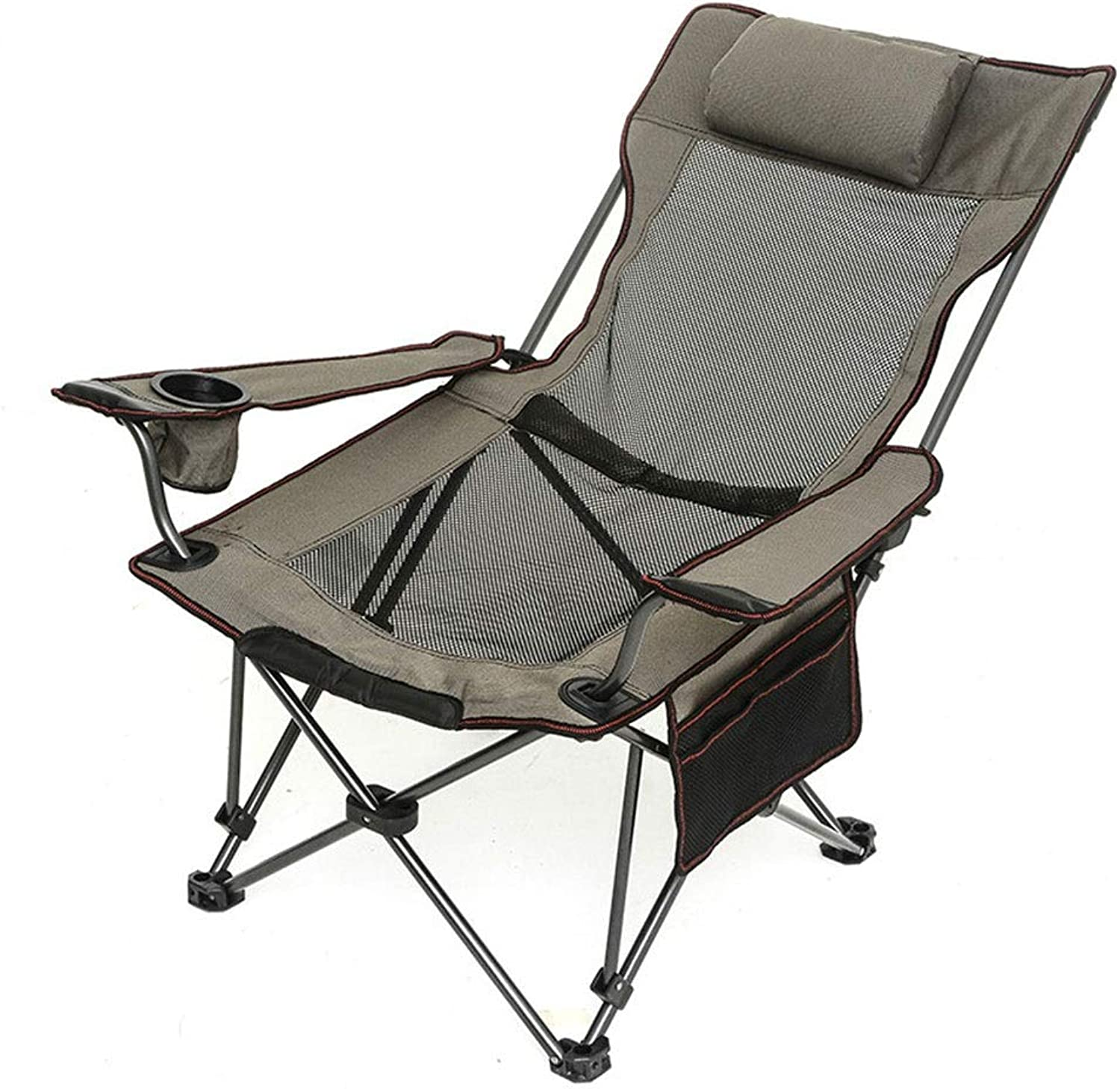 ZK Camping Chair Mesh High Back Ergonomic with Cup Holder Armrest Pocket Headrest Breathable Folding Portable, Adjustable, Supports 330 Lbs, Collapsible Lounge Chair, Recliner, Folding Stool