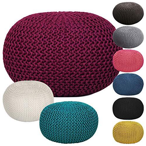 casamia Premium Pouf waschbar Strickhocker Sitzpouf Sitzpuff 100% wasserfest Sitzhocker Bodenkissen Sitzgelegenheit Grobstrick-Optik Ø 55 x 37 cm EXTRAGROSS Farbe beige - lipizano