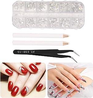 Unibell Kit de pedrería de Arte de uñas, Conjunto de Cristales de uñas, bolígrafo Punteado de uñas pedrería Exquisita con Pinzas y bolígrafo de Diamantes de imitación para uñas