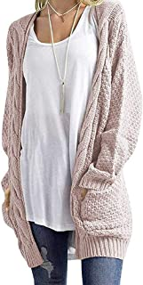 Uni Clau Women's Boho Long Sleeve Open Front Chunky Warm Cardigans Pointelle Pullover Cozy Sweater