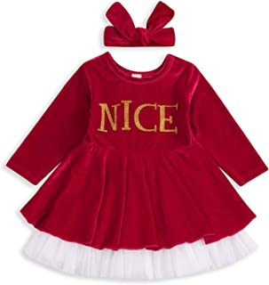GRNSHTS Baby Girls Christmas Dress Red Velvet Long Sleeve Princess Dresses with Headband