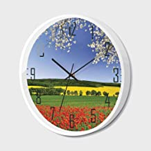 Non Ticking Wall Clock Silent with Metal Frame HD Glass Cover,Floral,Poppy Field with a Spring Landscape and Blossom Tree View in Meadow Nature Image Home Decor,for Office,Bedroom,14inch