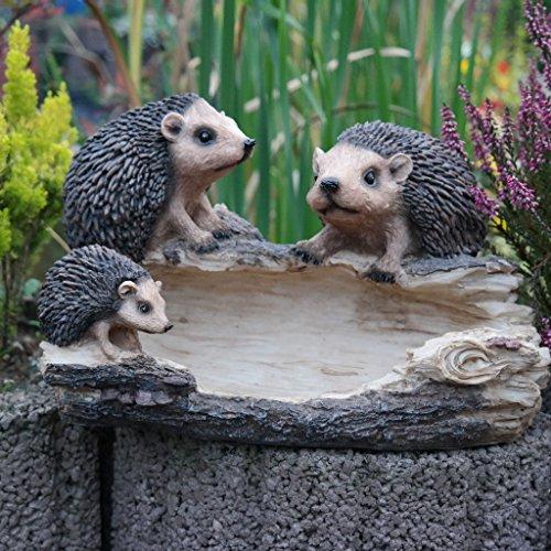 Vogeltränke Igel Igelfamilie Gartenfigur Dekofigur Wassertränke