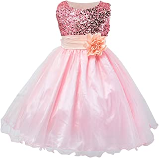 Wiwsi Girl Kids Sleeveless Wedding Bridesmaid Formal Party Princess Flower Dress