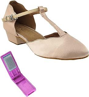 Very Fine Ballroom Salsa Practice Dance Shoes for Women 6819FT 1-Inch Heel + Foldable Brush Bundle
