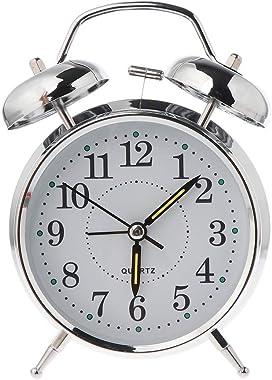 Kdjsic rétro Bureau mécanique réveil Lumineux veilleuse Double Cloche Silencieux métal numérique Chambre décoration de la Mai