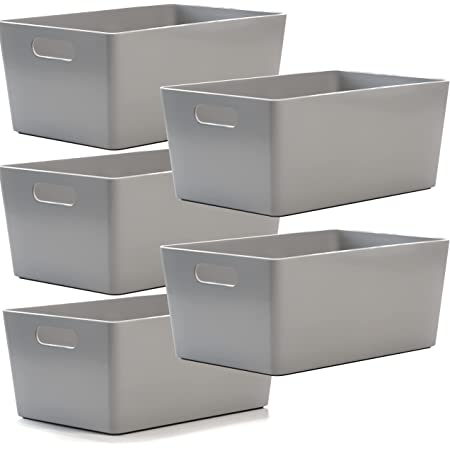 Lot de 5 Paniers de studio en plastique gris - Boîtes de rangement pour la maison ou le bureau - Convient pour les étagères, les tiroirs, les armoires à linge (25,5 x 17 x 11 cm)