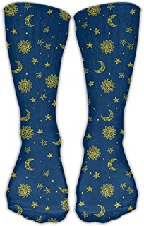 Lsjuee Cotton Sun Moon Star Pattern Calcetines casuales Calcetines