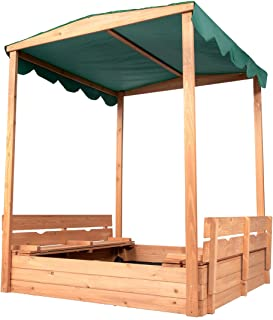 Good Life Outdoor Canopy Sandbox with Covered and Bench Seats Kids Play Sand for Sand Box Toys Wood Natural Color 47