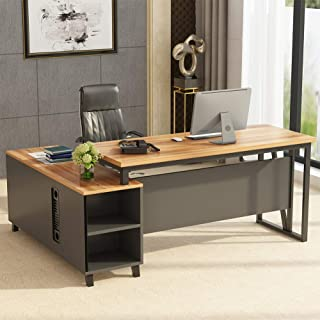 Tribesigns Large L-Shaped Desk, 55 Inches Executive Office Desk Computer Table Workstation with 47 Inches File Cabinet Storage, Brown