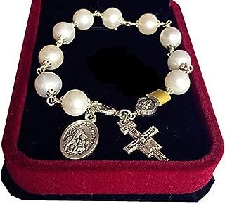 Handmade Silver Wire Wrap Pearl Bead Rosary Bracelet Cross Catholic
