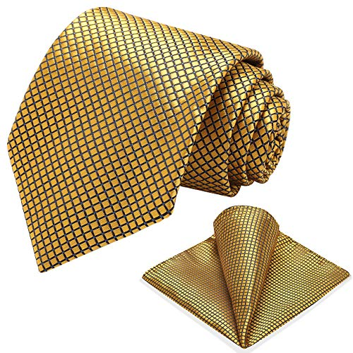 Vinlari Corbata Hombre Pañuelo Corbata Boda Conjunto Seda Pañuelo Negocio Tartán Elegante Estilo Casual Corbata Dorado