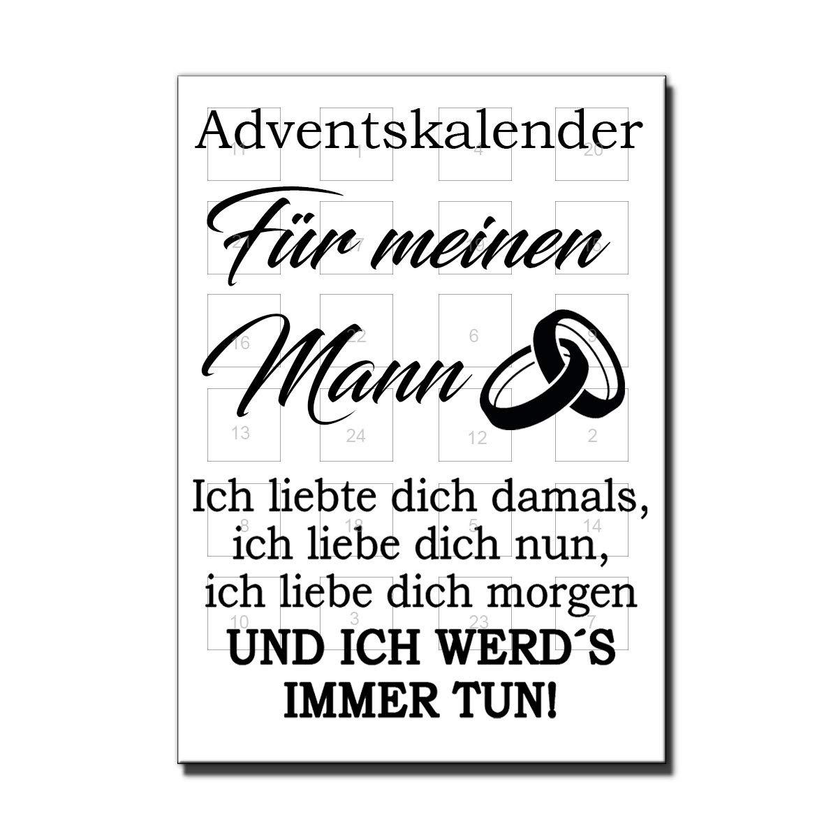 Frau Mann Adventskalender Für deine Liebsten Schatz Weihnachtskalender