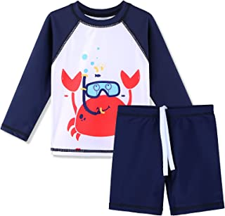 XFGIRLS ملابس سباحة للأولاد الصغار 2 قطعة طويلة الأكمام