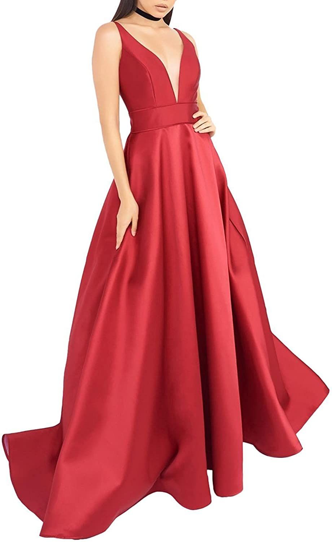 LL Bridal Empire Waist ALine Satin Bridesmaid Evening Dress Long Prom Dresses 2018 V NeckM0045