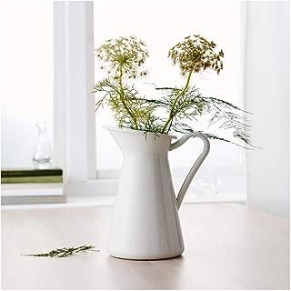 Let's dream with White Vintage Shabby Vase Enamel Pitcher Chic Cream Jug Pot Tall Metal Wedding Decor