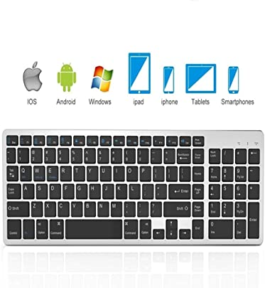 Mengen88 Bluetooth-Tastatur tragbare ultrad nne Mini-Wireless-Tastatur Eingebaute Lithiumbatterie mit 102 Tasten Zwei Tasten f r Laptops Desktops Smartphones Tablets Schätzpreis : 41,78 €