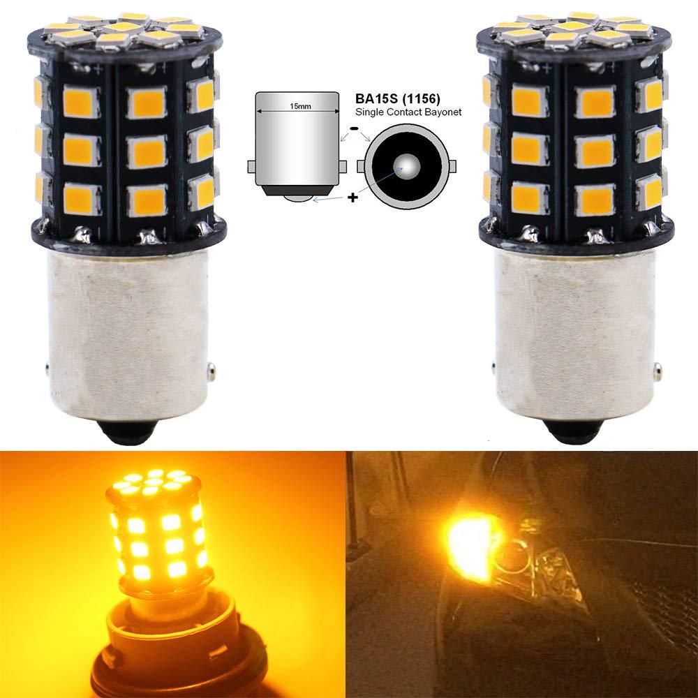ALOPEE - 2-Pack 1156 BA15S 1141 1073 7506 1003 Car Turn Signal Lights Bulbs - 12V-24V Extremely Bright Amber/Yellow 2835 33 SMD LED Light Bulb - Replacement for Tail Blinker LED Bulb Light