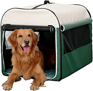 Dog Car Tent Portable Folding Breathable Composite Cloth Indoor & Outdoor Pet Crate with Storage Bag and Fleece Mat for Sm...