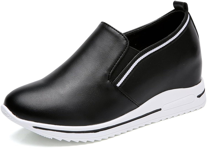 Xiaoyang Women Platform Loafers Ladies shoes Woman Slip On Moccasin Women's Slimming Swing shoes Black