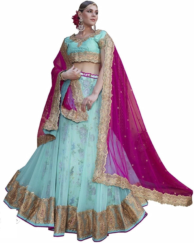 DesiButik's Wedding Wear Ravishing Aqua bluee Net Lehenga