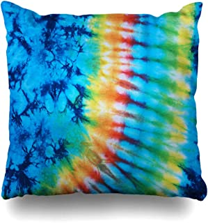 17d360f241f Ahawoso Throw Pillow Covers Blue Hippie Tie Dye Pattern Closeup Green  Classic Color Detail Material Design