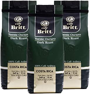 Café Britt - Costa Rican Dark Roast Coffee (12 oz.) (3-Pack) - Ground, Arabica Coffee, Kosher, Gluten Free, 100% Gourmet & Dark Roast (1 Year Shelf-Life)