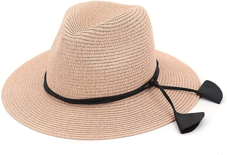 Wide Brim Adjustable Ladies Floppy Summer Sun Beach Straw Hat (color   Pink, Size   Adjustable)