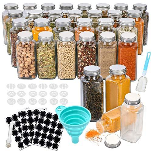 Kiousrm 30 Stück Gewürzgläser, 120 ml Quadratische Glasbehälter Gewürzdosen mit Deckel, Trichter, Whiteboard-Stift, Etikett, Reinigungsbürste,Gewürzglas sehr gut zum Würzen geeignet