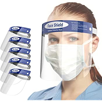 Looflar Anti-Fog Adjustable Full Face Shield with Clear Film Elastic Band and Comfort Sponge (5 PACKS)