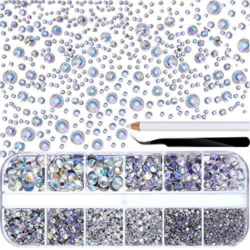 2000 Stück Hot Fix Glas Flatback Strasssteine HotFix Runde Kristall Edelsteine 1,5-6mm (SS4-SS30) in Aufbewahrungsbox mit Pinzette und Picking Strass Stift (Paradise Shine)