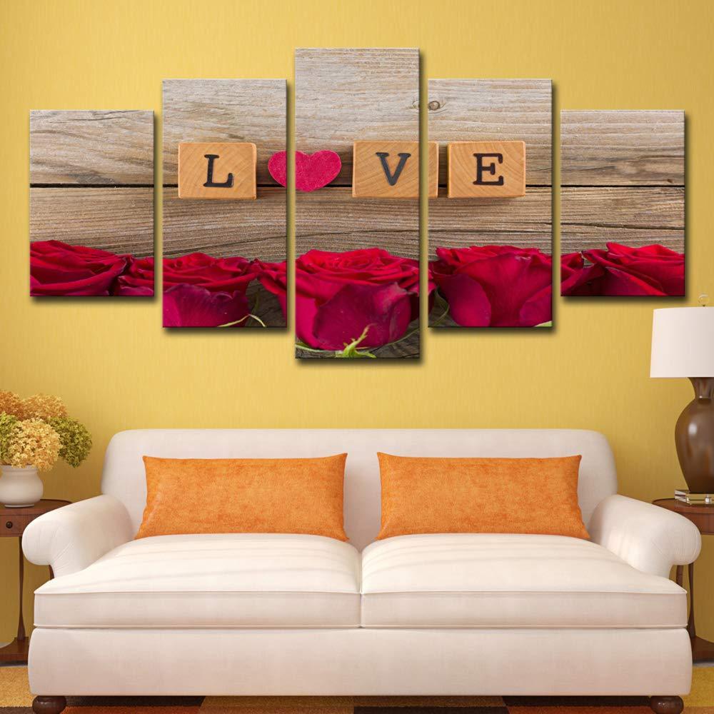 Pinturas en lienzo Sala de estar Decoración Arte de la pared 5 Piezas Amor en Scrabble Piezas Imágenes Impresiones en HD Corazón Rosas rojas Cartel sin marco S: 8X12-2P 8X16-2P 8X20-1P: Amazon.es: