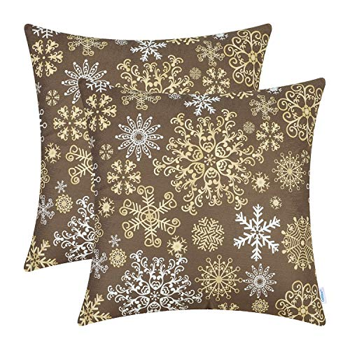 CaliTime Pack of 2 Cozy Fleece Throw Pillow Cases Covers for Couch Bed Sofa Christmas Snowflakes Both Sides 16 X 16 Inches Coffee