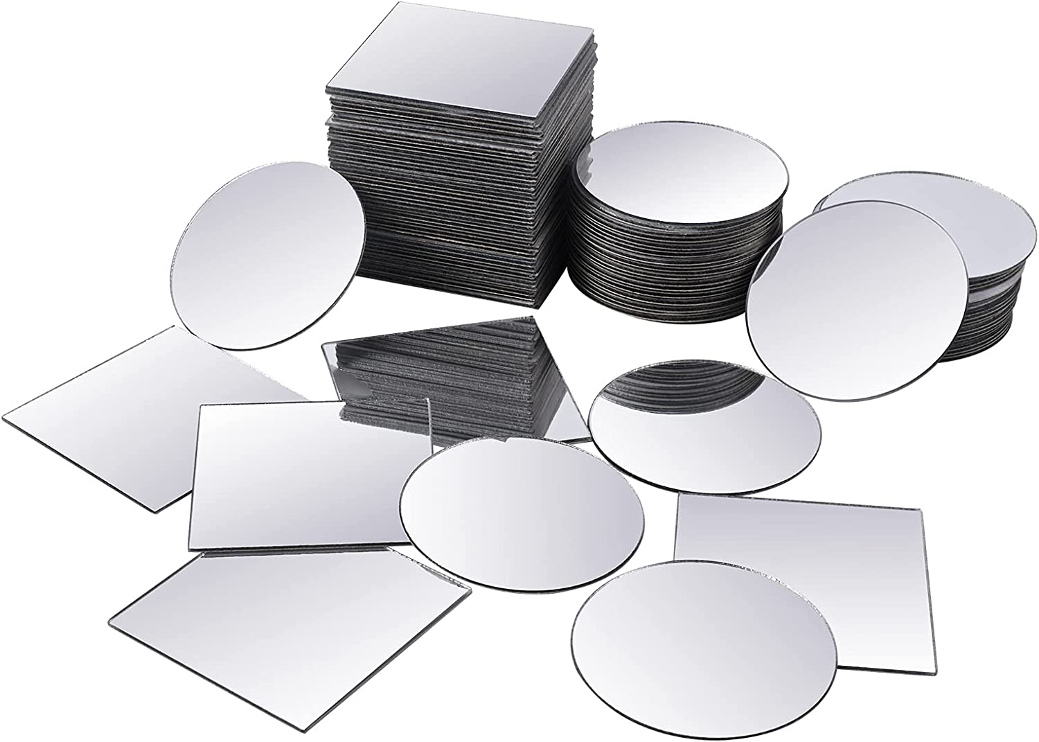 PAFUWEI 100 Pieces overseas of Round Square Mini Pcs Mirror 50 Siz Selling and selling Tiles