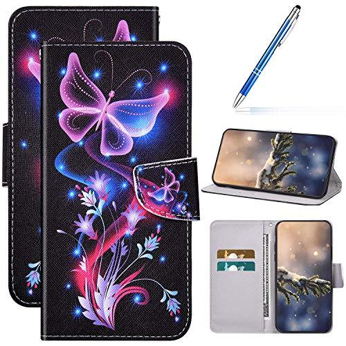 Kompatibel mit Huawei Honor 30 Hülle Lederhülle Handytasche,Bunte Gemalt Muster PU Leder Schutzhülle Klappbar Bookstyle Brieftasche Handyhülle Wallet Tasche Case Flip Hülle,Lila Schmetterling