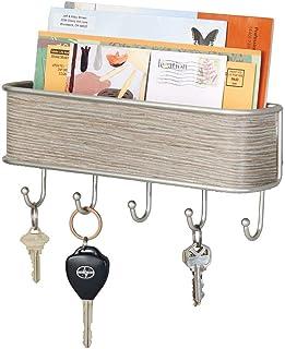mDesign Colgador de llaves con estante para uso variado - Organizador de llaves en metal resistente mate y madera pura - Con práctico estante para correo, revistas y móviles