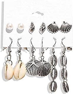 Vintage Metal Hypoallergenic Earrings Seashells Star Conch Set Ladies Jewelry