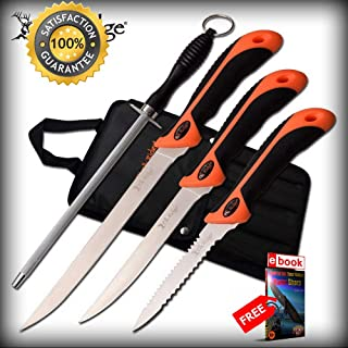 Hunting SHARP KNIFE Set Elk Ridge 14.5'' Overall 3 Fillet SHARP KNIFE Fishing Set + Extras Combat Tactical Knife + eBOOK by Moon Knives