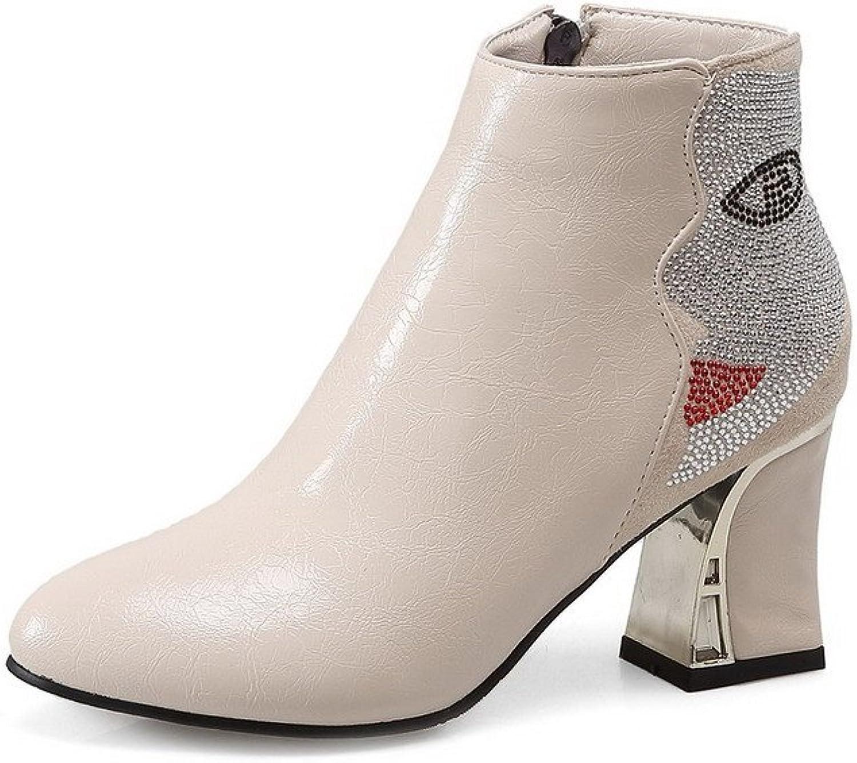 WeenFashion Women's Blend Materials Ankle High Solid Zipper High Heels Boots