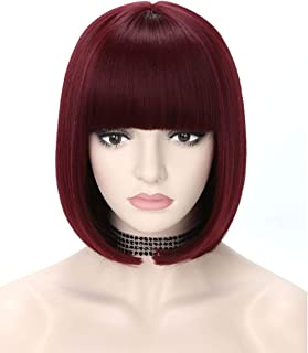 COSYCODE 12 inch Burgundy Dark Red Short Bob Wig with Bangs Synthetic Cosplay Wigs for Halloween Party