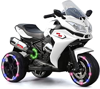 Alison Children Battery Motor Bikes Rechargeable 3 Wheels Ride on Kids Electric Motorcycle with Light Wheels (White)