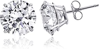 14K Solid Gold Cubic Zirconia Round-Cut Solitaire Stud Earrings for Women and Men, Butterfly Push-Back