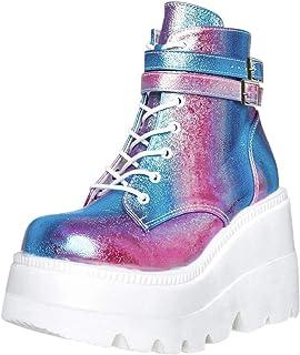 Bottes Femmes Mode Multicolore Wedge Zip Up Platform Shoes
