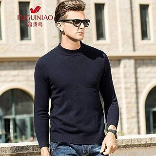 富贵鸟秋季纯色简约加厚半高领打底衫羊毛衫毛衣中青年男装针织衫