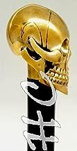 REPLICA WAREHOUSE Full Brass Head Skull Design Cane Black Wooden Stick Vintage Gift for Men Gift