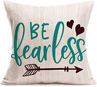 Smilyard Quote Pillow Cover Be Fearless Decorative Throw Pillow Covers Cotton Linen Arrows Pattern Wooden Pillowcase 18x18 Inch Decor Home Sofa Chair (CQ 03)