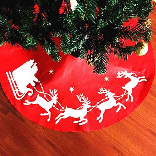 XONOR Tapis de sapin de Noël avec renne de Père Noël pour décoration de fête de Noël, 100 cm