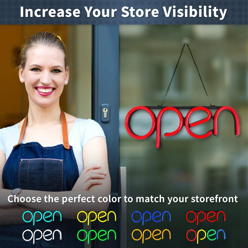 Vertical LED Neon Open Sign for Business Bright LED Open Sign with ON /& Off Switch White Lightweight /& Energy Efficient